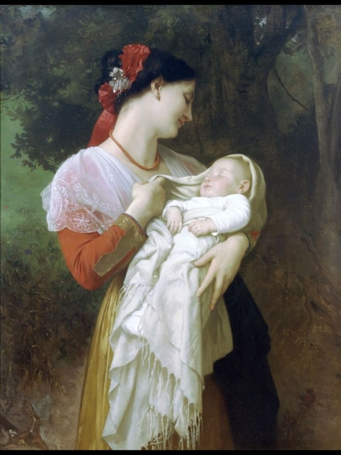 Maternal Admiration by William-Adolphe Bouguereau, 1869. (Private Collection) Oil on canvas. 89 x 116 cm.
