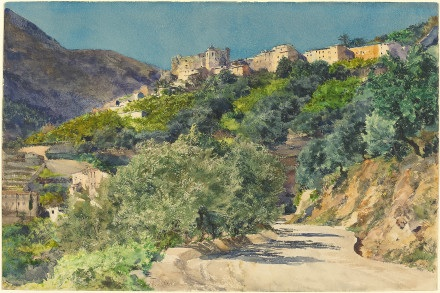 Sun-Drenched Hills near Menton 1880 Jacquemart, Jules-Ferdinand French, 1837 - 1880