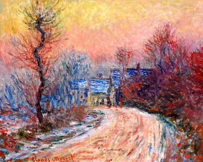 Coming into Giverny in Winter, Sunset ~ Claude Monet