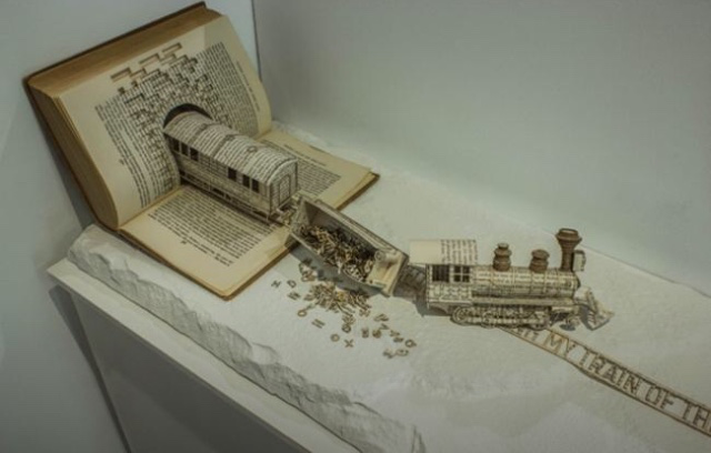 Derailing my train of thought': book sculpture by Thomas Wightman