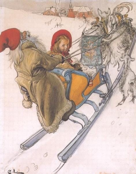 "Art by Carl Larsson (1901) - ""Kersti's Sleigh Ride."