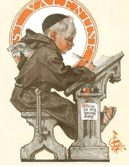 St. Valentine at Desk  J.C. Leyendecker Giclee on paper Saturday Evening Post cover 2/16/1918