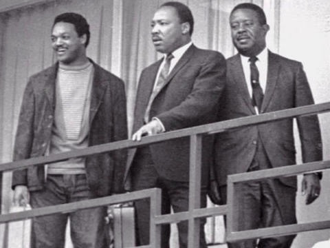 Dr. Martin Luther King Jr., and Ralph Abernathy are seen on a balcony of the Lorraine Motel in Memphis, on April 3, 1968, the day before King's assassination.