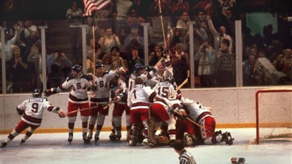 Feb. 22, 1980  The U.S. hockey team pounces on goalie Jim Craig after a 4-3 victory against the Soviets in the 1980 Olympics