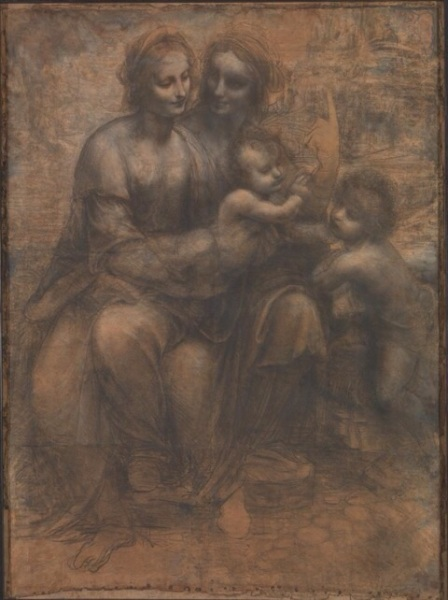 The Virgin Mary sits on the lap of her mother, Saint Anne. The Christ Child blesses his cousin Saint John the Baptist  Leonardo da Vinci  about 1499-1500
