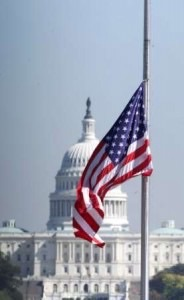 In traditional observance, the flag of the United States is raised briskly to the top of the staff and then solemnly lowered to the half-staff position, where it remains only until noon. It is then raised to full-staff for the remainder of the day. The half-staff position remembers the more than one million men and women who gave their lives in service of their country. At noon, their memory is raised by the living, who resolve not to let their sacrifice be in vain, but to rise up in their stead and continue the fight for liberty and justice for all.