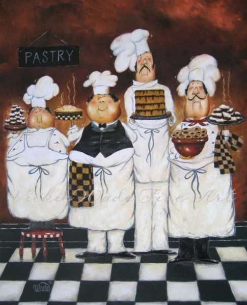 Four Tall Chefs - Vickie Wade https://www.etsy.com/shop/VickieWadeFineArt