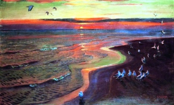 Sunset on the river. Gulls Arkady Rylov Russian Painter 1887-1947