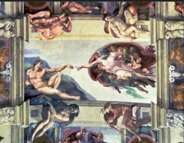 Michelangelo, Creation of Adam, from the ceiling of the Sistine Chapel in the Vatican, Rome, 1508-1512, fresco
