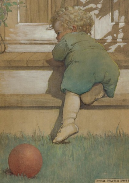 Jessie Willcox Smith (American, 1863 - 1935): Then the toddling baby boy (The Second Age)