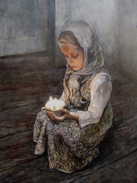 Girl With The Candle oil canvas 