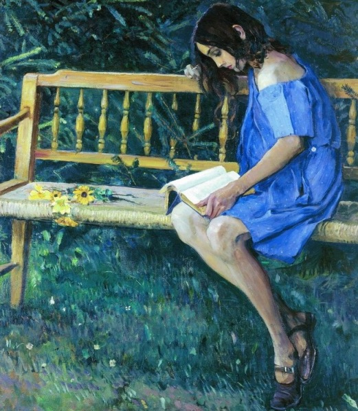 Mikhail Vasilyevich Nesterov - Natalia Nesterova on the garden bench, (1914). 